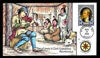 1 WONDER  COLLINS HAND PAINTED FDC W/ COVER 5 LEWIS & CLARK