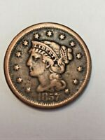 ANTIQUE 1857 SMALL DATE BRAIDED HAIR LARGE CENT PENNY.