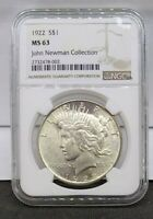 1922 SILVER PEACE DOLLAR NGC MINT STATE 63 JOHN NEWMAN COLLECTION HOARD PEDIGREE COIN