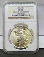 1923 SILVER PEACE DOLLAR NGC MINT STATE 63 KOEHLER COLLECTION HOARD PEDIGREE COIN