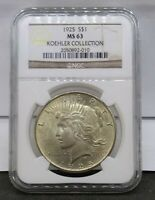 1925 SILVER PEACE DOLLAR NGC MINT STATE 63 KOEHLER COLLECTION HOARD PEDIGREE COIN