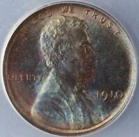 1910 LINCOLN WHEAT CENT ANACS AU58 - BLUE TONING -  DOUBLEJCOINS 3009-87