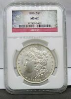 1896 P NGC MINT STATE 62 MORGAN SILVER DOLLAR NGC FLAG LABEL -  COIN  SLAB -
