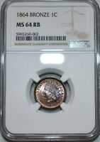 NGC MS 64 RB 1864 BRONZE INDIAN HEAD CENT RADIANT RED BROWN
