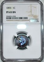 NGC PF 65 BN 1893 INDIAN HEAD CENT BEAUTIFULLY TONED DEEPLY