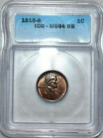 ICG MS 64 RB 1915 S LINCOLN CENT RAZOR SHARP HARD TO FIND RE