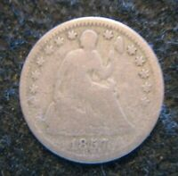 1857 US SEATED HALF DIME SILVER CIRCULATED