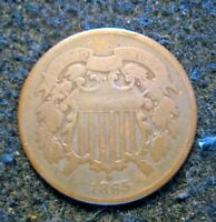 1865 US 2C TWO CENT PIECE COPPER CIRCULATED COIN     B