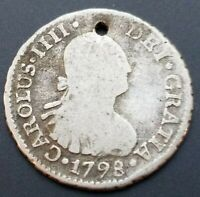SCARCE 1798 CHILE SILVER 1/2 REALE HOLED SOUTH AMERICA COLON