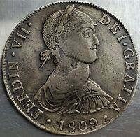 8 REALES 1809JP GRATIA FERNANDO VII COLONIAL MILLED COINAGE