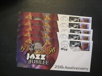 USPS JAZZ JUBILEE FDCS LOT OF 5 LEGAL SIZE ENVELOPES FROM 19