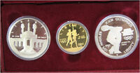 1983 1984 OLYMPIC 3 COIN COMMEMORATIVE PROOF SET W/ $10 GOLD & 2 SILVER DOLLARS