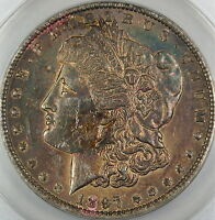 1897-O MORGAN SILVER DOLLAR COIN, ANACS AU-58 DETAILS - CLEANED, TONED COIN