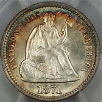 1871 SEATED LIBERTY SILVER HALF DIME PCGS MS 64 GEM LIGHTLY TONED