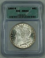 1890-S MORGAN SILVER DOLLAR $1 COIN, ICG MINT STATE 63, CHOICE, AH