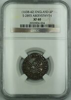 1638 42 ENGLAND ABERYSTWYTH SILVER GROAT 4P COIN S 2556 CHARLES I NGC XF 40 AKR