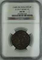 1445 54  ENGLAND SILVER GROAT FOURPENCE 4P COIN S 1917 HENRY VI NGC AU 50 AKR