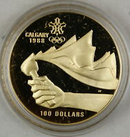 1987 CANADA $100 DOLLAR PROOF GOLD COIN 1988 CALGARY OLYMPICS IN BOX W/ COA