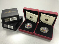 2012 ASTER & GLASS BEE / 2013 CONEFLOWER & GLASS BUTTERFLY: SILVER COIN SET