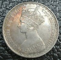 1853 GREAT BRITAIN   ONE FLORIN   SILVER   VICTORIA   SOME TONING   NCC