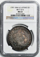 1797 DRAPED BUST $1 NGC MS 63