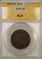 1821 CORONET HEAD LARGE CENT 1C COIN ANACS VG-8 PRX
