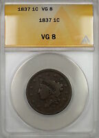 1837 CORONET HEAD LARGE CENT 1C COIN ANACS VG-8 PRX