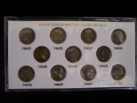 1942 1945 JEFFERSON SILVER WAR NICKEL SET 11 COINS CIRCULATED,P.D.S.