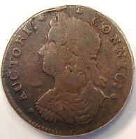 1787 DRAPED BUST LEFT CONNECTICUT COLONIAL COPPER COIN   ANACS VF20   !