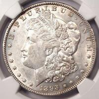 1893-O MORGAN SILVER DOLLAR $1 - NGC AU53 -  DATE - STRONG BREAST FEATHERS