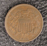 2 CENT PIECE LARGE MOTTO 1864 CIRCULATED AND UNCERTIFIED. BUSINESS PHILADELPHIA