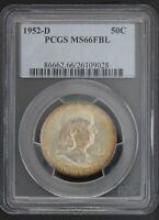 1952 D FRANKLIN PCGS MS 66 FBL. INCREDIBLE TWO SIDED COLOR! 1 OF ONLY 88.