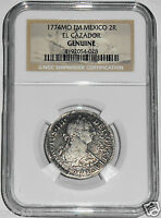 1774 MO FM 2 REALES EL CAZADOR SHIPWRECK COIN,NGC CERTIFIED EXCELLENT CONDITION