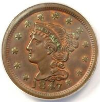 1847 BRAIDED HAIR LARGE CENT 1C   ANACS MS60 DETAILS    EARLY DATE PENNY