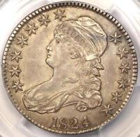 1824 CAPPED BUST HALF DOLLAR 50C   PCGS AU53 PQ    DATE   CERTIFIED COIN
