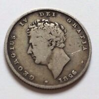 ANTIQUE 1826 GEORGE IV SILVER ONE SHILLING COIN
