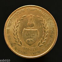 INDIA 5 RUPEES. KM403. COMPTROLLER & AUDITOR GENERAL OF INDIA 1860 2010. UNC.