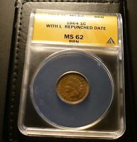 1864 L INDIAN HEAD CENT   REPUNCHED DATE  ANACS  CERTIFIED MS 62 BN