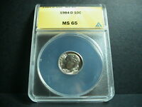 1984 - D  ANACS CLAD MINT STATE 65  ROOSEVELT DIME      COIN