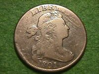 1801 DRAPED BUST LARGE CENT NICE QUALITY COIN W/BIG DIE BREAKS! !!
