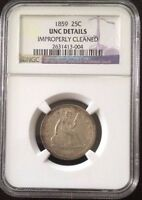 1859 SEATED LIBERTY QUARTER NGC UNC DETAILS
