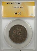 1859 SEATED LIBERTY SILVER HALF DOLLAR 50C COIN ANACS VF 20