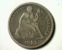 1888 SEATED LIBERTY DIME FINE VF NICE ORIGINAL COIN FROM BOBS COINS