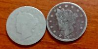 LOT OF 2 LIBERTY V NICKEL 1893 VINTAGE COINS