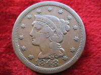 1848 U.S. LARGE CENT BETTER GRADE HISTORIC COIN GREAT COLOR FAST SHIPPING