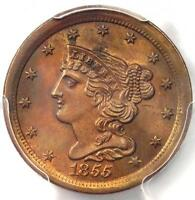 1855 BRAIDED HAIR HALF CENT 1/2C   PCGS UNCIRCULATED DETAILS BU MS UNC