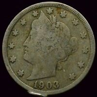 1903 P LIBERTY HEAD V NICKEL  GOOD VG CONDITION US COIN S  J141