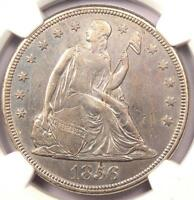 1856 SEATED LIBERTY SILVER DOLLAR $1   NGC AU DETAILS    DATE COIN