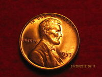 1953 - D - LINCOLN  WHEAT CENT FROM -BU- ROLL-  RED