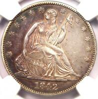 1842 O SEATED LIBERTY HALF DOLLAR 50C MEDIUM DATE   NGC AU DETAILS    DATE